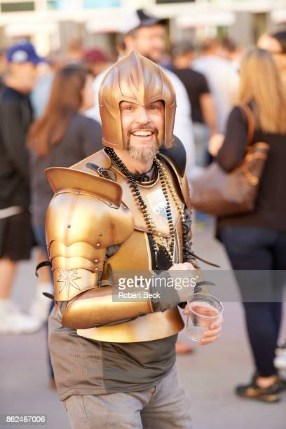 Vegas Golden Knights fans wearing Golden Knight costume waiting outside TMobile Arena before game vs Arizona Coyotes Las Vegas NV CREDIT Robert Beck