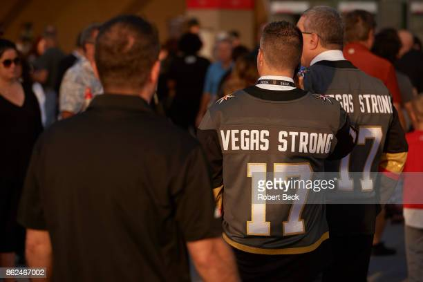 Vegas Golden Knights fans wearing jerseys that read VEGAS STRONG waiting outside TMobile Arena before game vs Arizona Coyotes Las Vegas NV CREDIT...