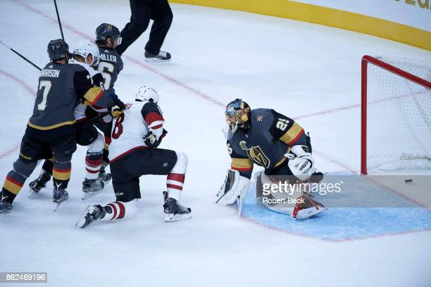 Vegas Golden Knights goalie MarcAndre Fleury in action yielding goal vs Arizona Coyotes at TMobile Arena Las Vegas NV CREDIT Robert Beck