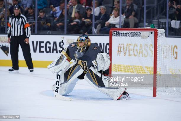 Vegas Golden Knights goalie MarcAndre Fleury in action vs Arizona Coyotes at TMobile Arena Las Vegas NV CREDIT Robert Beck