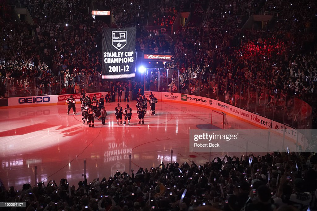 View of Stanley Cup banner being raised to the rafters before Los Angeles Kings vs Chicago Blackhawks game at Staples Center. Robert Beck F14 )