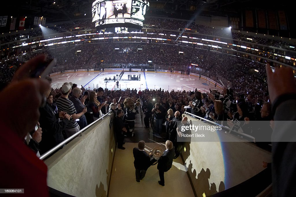 View of Stanley Cup being brought onto ice before Los Angeles Kings vs Chicago Blackhawks game at Staples Center. Robert Beck F1 )