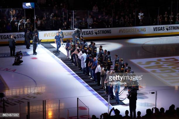 View of Vegas Golden Knights players on ice during ceremony before game vs Arizona Coyotes at TMobile Arena Las Vegas NV CREDIT Robert Beck
