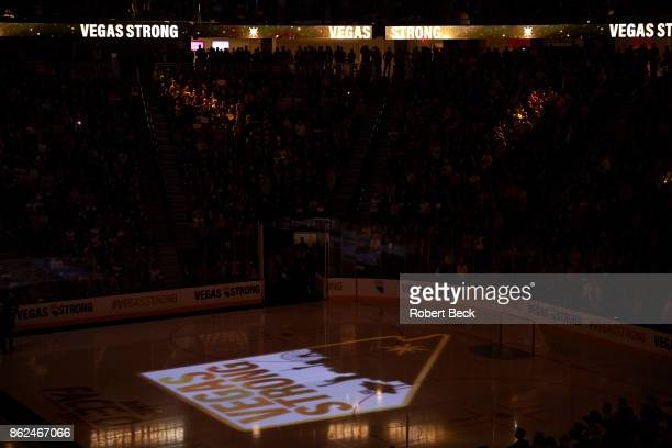 View of Vegas Strong lighted logo on ice before Vegas Golden Knights vs Arizona Coyotes game at TMobile Arena Las Vegas NV CREDIT Robert Beck