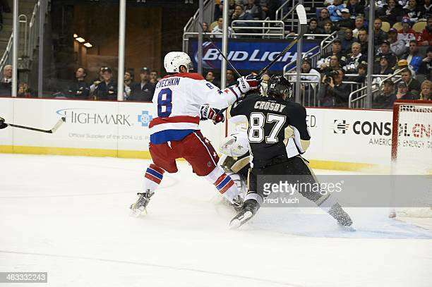 Washington Capitals Alex Ovechkin victorious after scoring goal vs Pittsburgh Penguins Sidney Crosby at Consol Energy Center Pittsburgh PA CREDIT...
