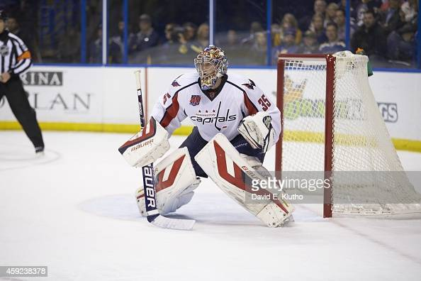 Washington Capitals goalie Justin Peters in action vs St Louis Blues at Scottrade Center St Louis MO CREDIT David E Klutho