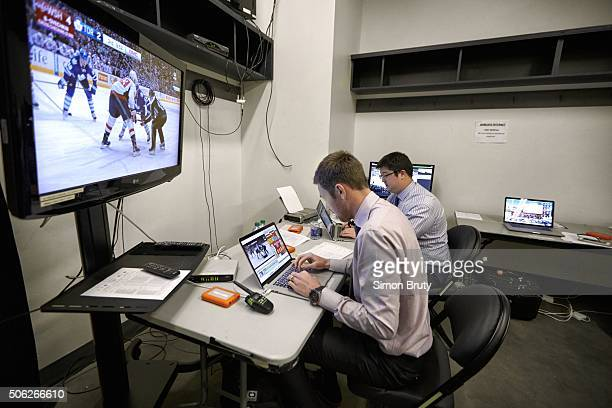 Washington Capitals video coaches analyze game vs Toronto Maple Leafs in real time at Air Canada Centre Behind the Scenes 927 pm Toronto Canada...