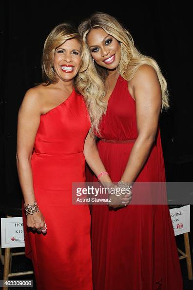 Hoda Kotb and Laverne Cox pose backstage at the Go Red For Women Red Dress Collection 2015 presented by Macy's fashion show during MercedesBenz...