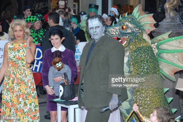 Hoda Kotb as ' Marilyn Munster' Natalie Morales as 'Eddie Munster' Matt Lauer as 'Herman Munster' and Tiki Barber as 'Spot the Dragon' on October 31...