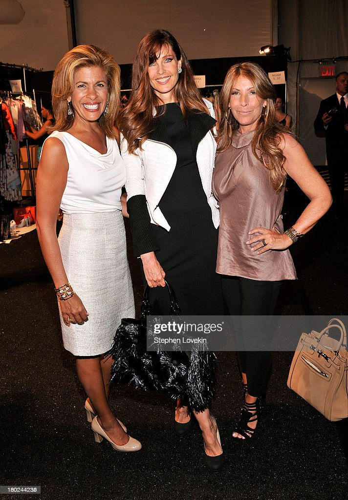 Hoda Kotb Carol Alt and Jennifer Miller pose backstage at the Dennis Basso fashion show during MercedesBenz Fashion Week Spring 2014 at The Stage at...