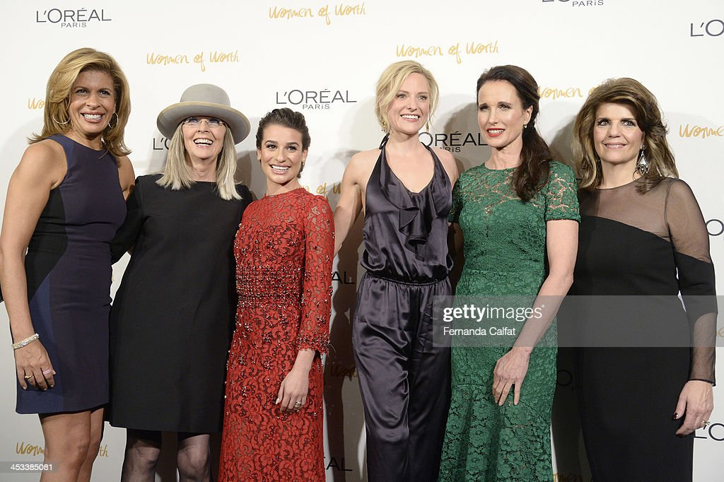 Hoda Kotb, Diane Keaton, Lea Michele, Aimme Mullins, Andie MacDowell and Karen Fondu attend L'Oreal Paris' Women of Worth 2013 at The Pierre Hotel on December 3, 2013 in New York City.