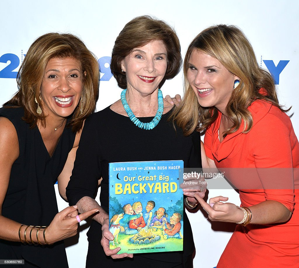 Hoda Kotb Laura Bush and Jenna BushHager attend the 92Y Talks Laura Bush Jenna BushHager on May 11 2016 in New York New York