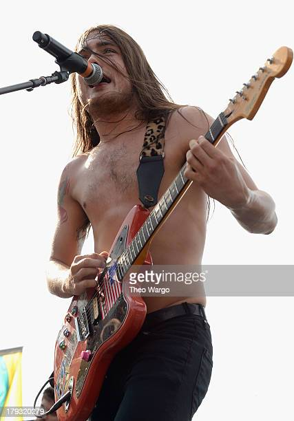 Hodan Dickie of Diarrhea Planet performs during the 2013 Budweiser Made In America Festival at Benjamin Franklin Parkway on September 1 2013 in...