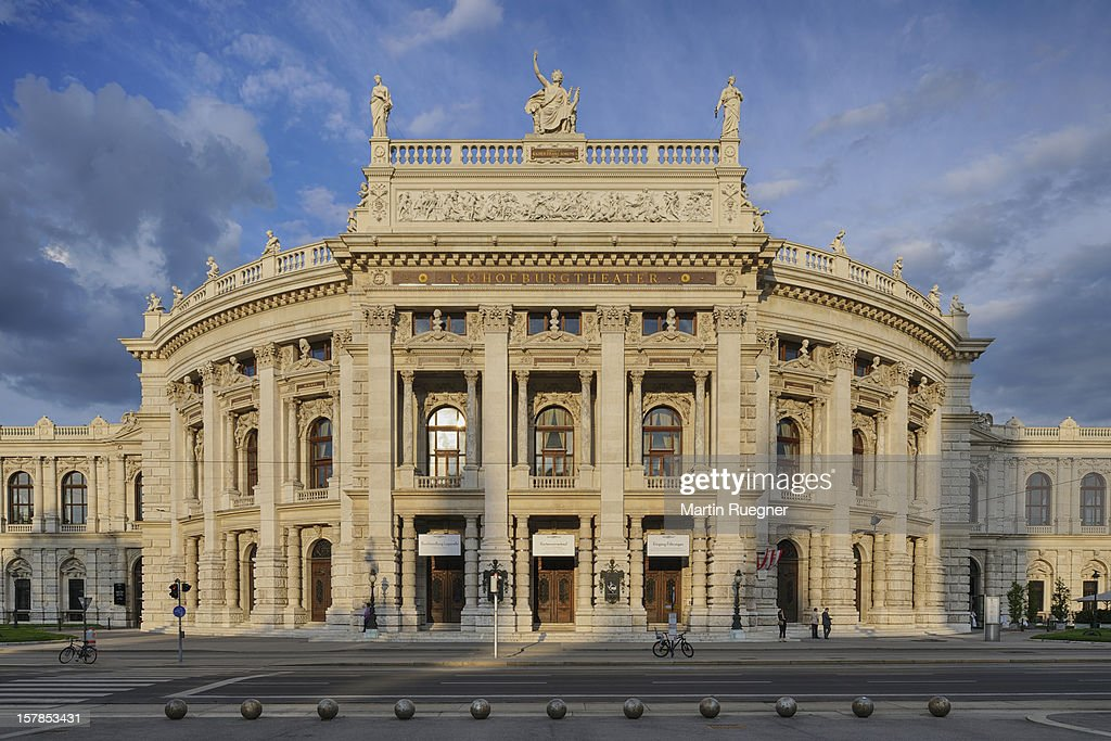 Hofburgtheater in Vienna at sunset.