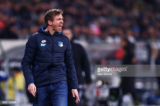 Hoffenheim Manager / Head Coach Julian Nagelsmann screams instructions to his team during the Bundesliga match between TSG 1899 Hoffenheim and...
