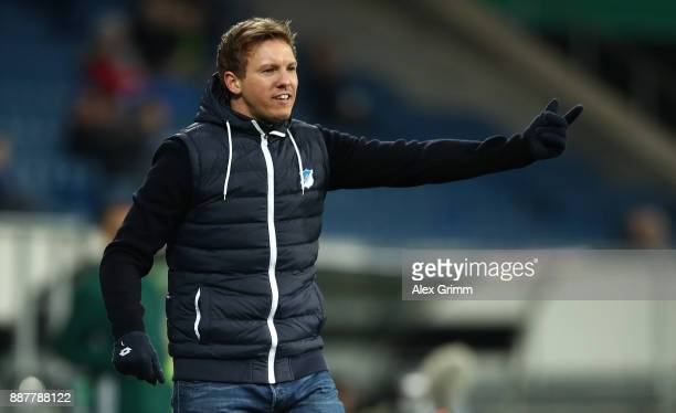 Hoffenheim manager Julian Nagelsmann gives instructions during the UEFA Europa League group C match between 1899 Hoffenheim and PFC Ludogorets...