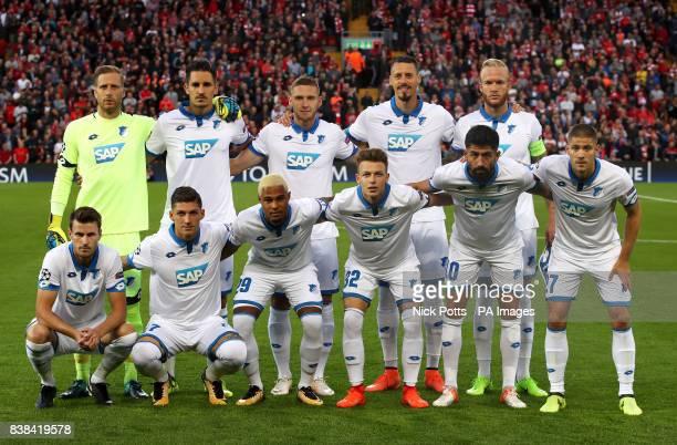 Hoffenheim team group back row left to right Oliver Baumann Benjamin Hubner Pavel Kaderabek Sandro Wagner Kevin Vogt Back row left to right Havard...