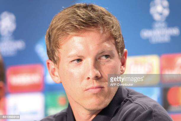Hoffenheim's coach Julian Nagelsmann addresses the media during a news conference on August 14 2017 in Sinsheim Germany on the eve of the football...