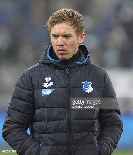 Hoffenheim's coach Julian Nagelsmann is pictured prior to the German first division Bundesliga football match TSG Hoffenheim vs Werder Bremen in...