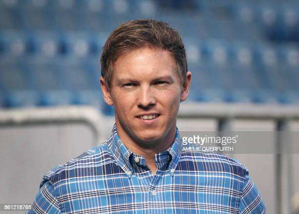 Hoffenheim's coach Julian Nagelsmann is pictured prior to the German First division Bundesliga football match TSG 1899 Hoffenheim vs FC Augsburg in...