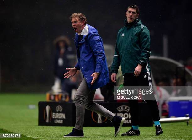 Hoffenheim's coach Julian Nagelsmann shouts from the sideline during the Europa League football match SC Braga vs TSG 1899 Hoffenheim at the...