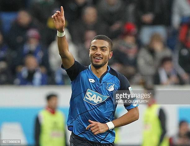 Hoffenheim's defender Jeremy Toljan celebrates scoring the 20 during the German first division Bundesliga football match between TSG Hoffenheim and 1...