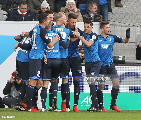 Hoffenheim's forward Sandro Wagner celebrates scoring the 10 during the German first division Bundesliga football match between TSG Hoffenheim and 1...