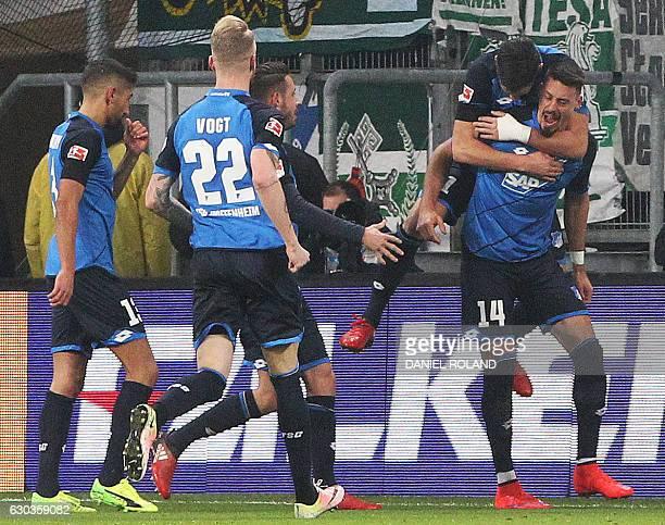 Hoffenheim's forward Sandro Wagner celebrates scoring the 10 during the German first division Bundesliga football match TSG Hoffenheim vs Werder...