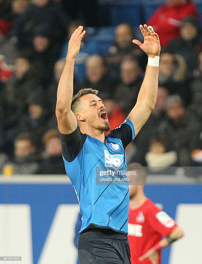 Hoffenheim's forward Sandro Wagner celebrates scoring the 3-0 during the German first division Bundesliga football match between TSG Hoffenheim and 1 FC Cologne at the Wirsol Rhein-Neckar-Arena in Sinsheim, southern Germany, on December 03, 2016. / AFP / DANIEL