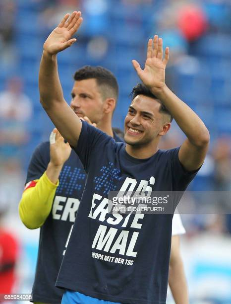 Hoffenheim's forward Sandro Wagner reacts after the German first division football match between TSG Hoffenheim 1899 and FC Augsburg on May 20 2017...