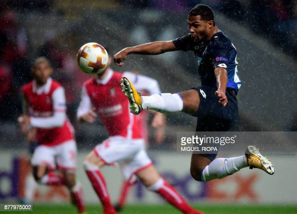 Hoffenheim's forward Serge Gnabry controls the ball during the Europa League football match SC Braga vs TSG 1899 Hoffenheim at the Municipal stadium...
