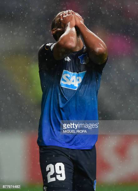Hoffenheim's forward Serge Gnabry gestures after missing a goal during the Europa League football match SC Braga vs TSG 1899 Hoffenheim at the...