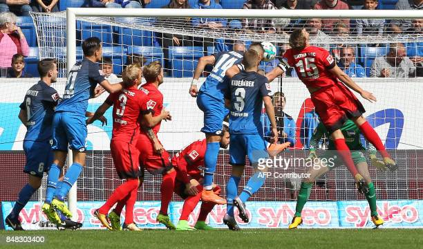 Hoffenheim's German forward Sandro Wagner scores the 10 during the German First division Bundesliga football match TSG 1899 Hoffenheim vs Hertha BSC...