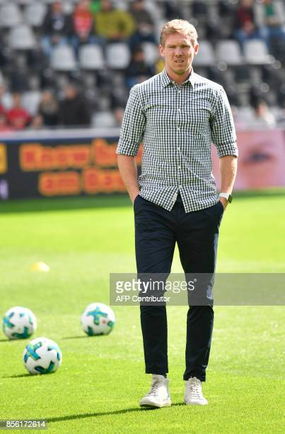 Hoffenheim's German head coach Julian Nagelsmann reacts prior to the German first division Bundesliga football match between SC Freiburg and TSG...