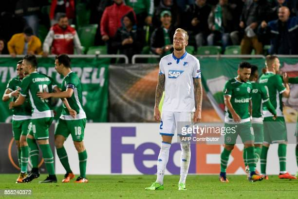 Hoffenheim's German midfielder Kevin Vogt reacts after Ludogorets players scored a second goal during the UEFA Europa League Group C football match...