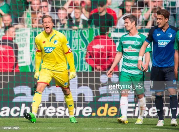 Hoffenheim's goalkeeper Oliver Baumann reacts during the German first division Bundesliga football match between Werder Bremen and TSG Hoffenheim on...