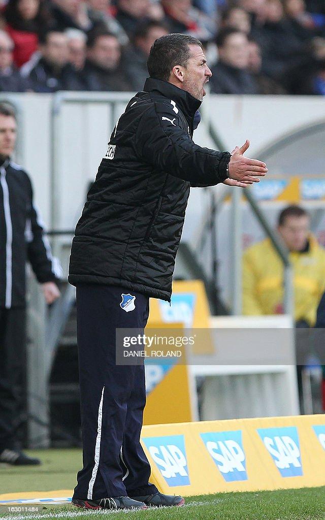 Hoffenheim's head coach Marco Kurz reacts during the German first division Bundesliga football match TSG 1899 Hoffenheim vs Bayern Muenchen in Sinsheim, Germany, on March 3, 2013.