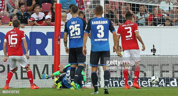 Hoffenheim's Hungarian forward Adam Szalai scores the 44 during the German first division Bundesliga football match between FSV Mainz and TSG...