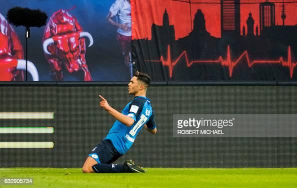 Hoffenheim´s midfielder Nadiem Amiri celebrates after scoring the first goal during the German first division Bundesliga football match between RB...