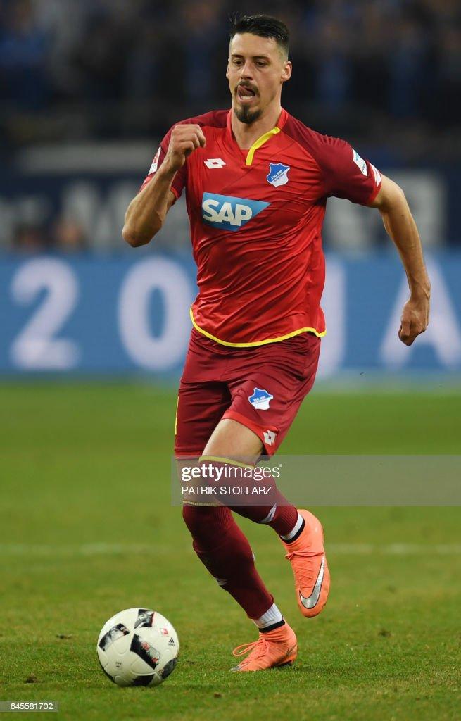 Hoffenheim's striker Sandro Wagner plays the ball during the German first division Bundesliga football match of FC Schalke vs TSG Hoffenheim in Gelsenkirchen, western Germany, on February 26, 2017. /