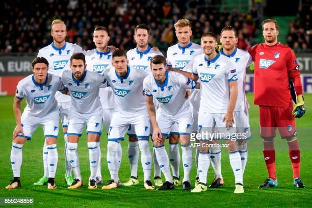Hoffenheim's team players German defender Nico Schulz German midfielder Lukas Rupp Swiss Midfielder Steven Zuber Norwegian midfielder Havard...