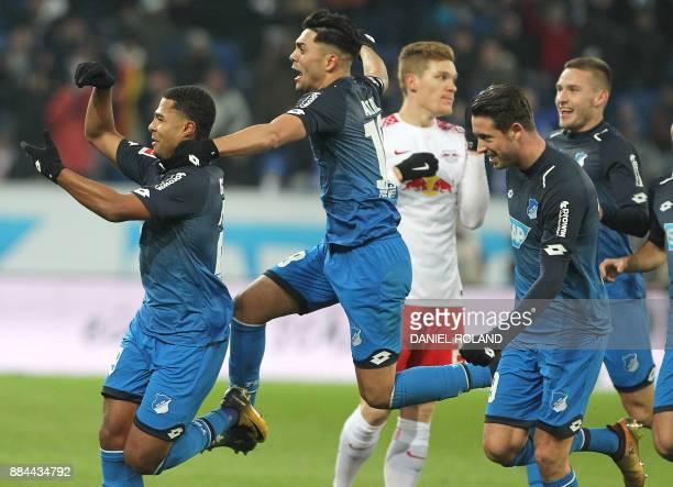 Hoffenheims's German midfielder Serge Gnabry celebrates scoring the 20 during the German First division Bundesliga football match TSG 1899 Hoffenheim...