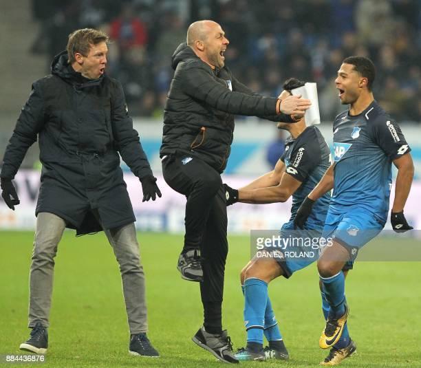 Hoffenheims's German midfielder Serge Gnabry celebrates scoring the 30 during the German First division Bundesliga football match TSG 1899 Hoffenheim...