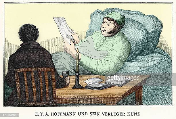 ETA Hoffmann with his publisher Kunz German Romantic author of fantasy and horror 24 January 1776 25 June 1822 Colourised version