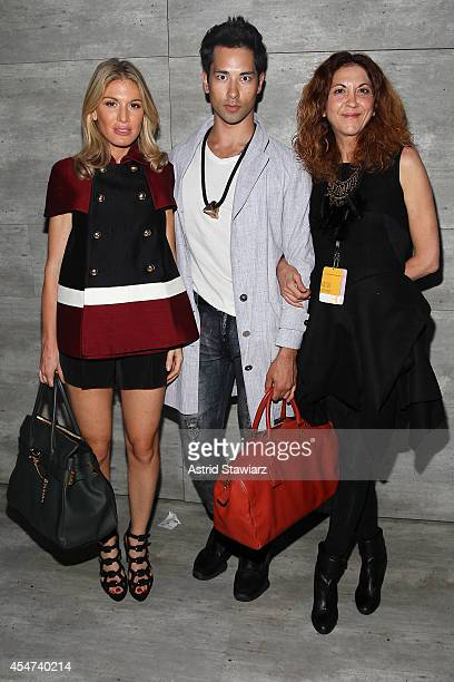 Hofit Galan Jacob Koe and Brigitte Segura attend the Charlotte Ronson fashion show during MercedesBenz Fashion Week Spring 2015 at The Pavilion at...