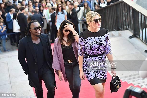 Hofit Golan and Freddie Achom arrive at the Koradior show during Milan Fashion Week Spring/Summer 2017 on September 26 2016 in Milan Italy