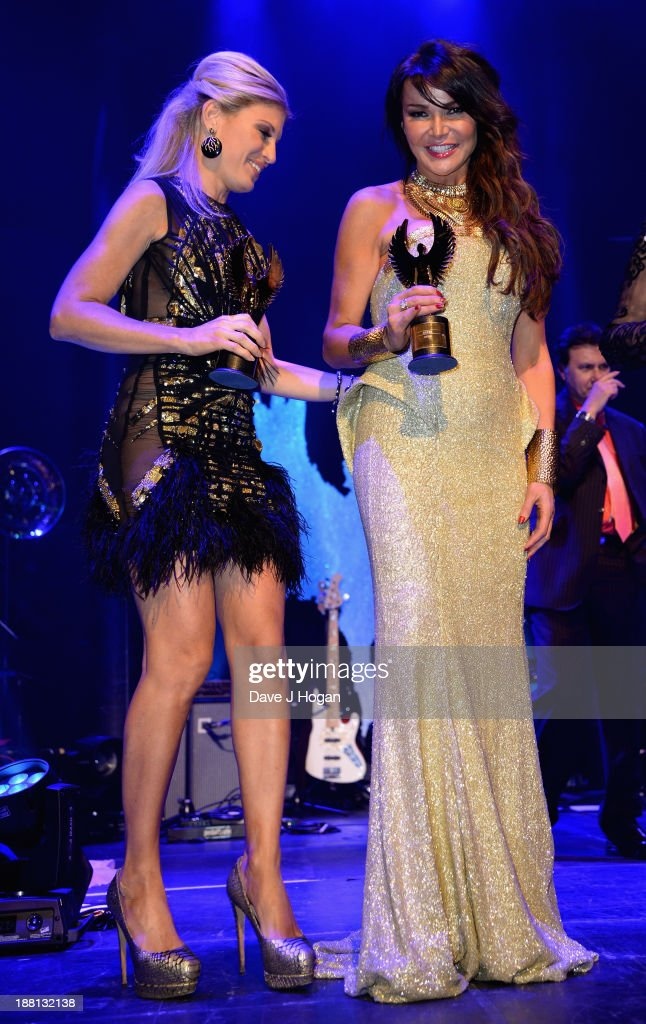 Hofit Golan and Lizzie Cundy onstage during The Global Angel Awards at the Roundhouse on November 15, 2013 in London, England.