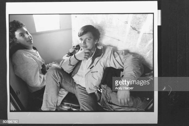 Hofstra Univ prof Douglas Brinkley sitting nr unident male student onboard the Majic Bus which Brinkley 26 students fr his An Amer Odyssey Art and...