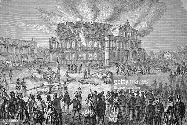 Hoftheater in dresden in flames saxony germany historic wood engraving ca 1880