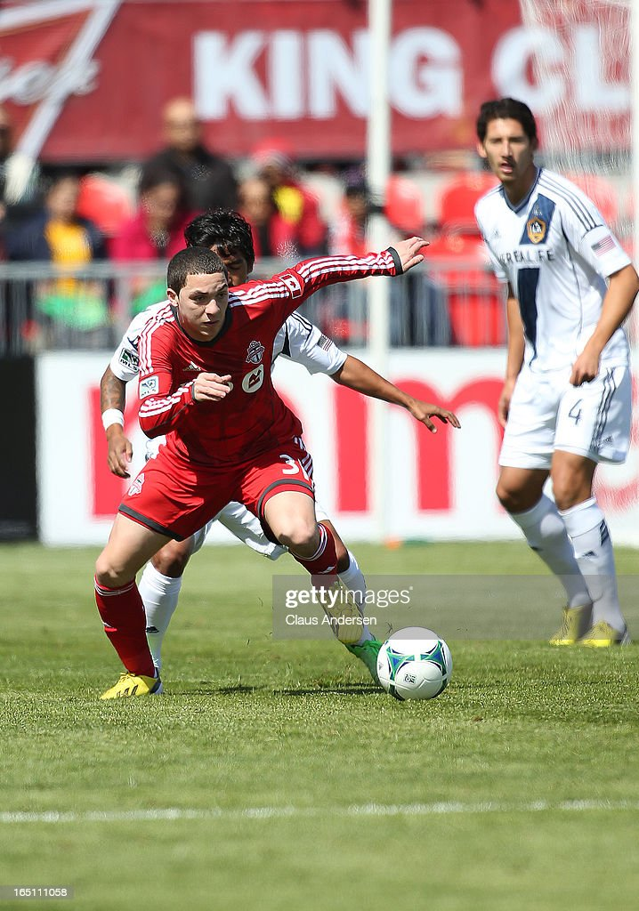 Hogan Eqhraim #31 of Toronto FC goes after the ball in an MLS game against the Los Angeles Galaxy on March 30, 2013 at BMO Field in Toronto, Ontario, Canada.